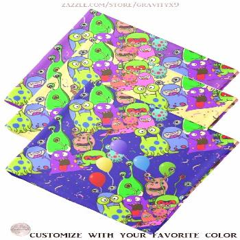 * Alien Party Time Custom Bandana Neckerchief * Fun and Colorful Alien Art * Party with Aliens Band