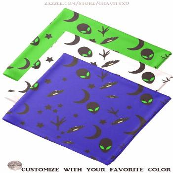 * Aliens and Spaceships Custom Bandana Neck Scarf * Add your fave color! * Aliens and Spaceships Ba