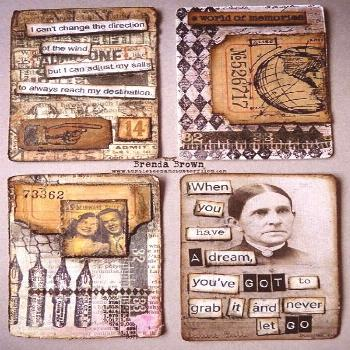 4 more altered playing cards by Brenda Brown - altered art - inches and journal page inspiration -