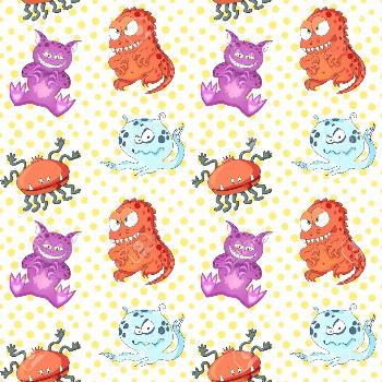 A seamless background pattern of happy, floating, cartoon, vector aliens monsters. Kiddy wallpaper