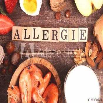 Allergy food concept. Allergy food as almonds, milk, cheese, strawberry, eggs, peanuts and .crustac