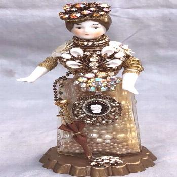 Altered Art Bottle China Doll Head Topper