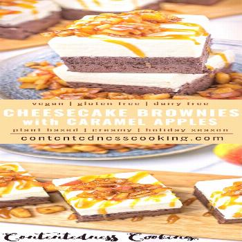 Cheesecake Brownies with Caramel Apples -  Tasty Cheesecake Brownies with Caramel Apples. Vegan, qu