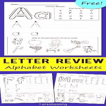 FREE alphabet worksheets for kindergarten kids to review letters and letter sounds, and practice pr