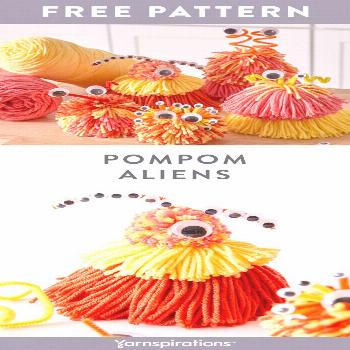 Free Pompom Aliens craft pattern using Red Heart With Love yarn. Pompoms and googly eyes are such a