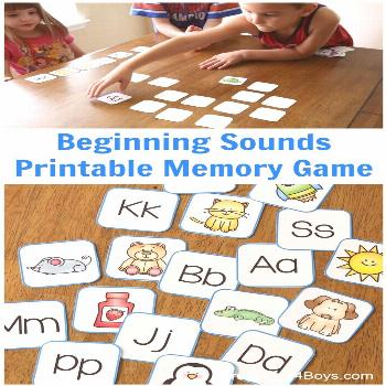 Free printable memory game to help preschool and pre-k kids work on beginning sounds.