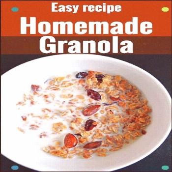 Homemade Granola Clusters Recipe. Solid Cereal Made With Maple Syrup, Egg White And Vanilla Essence