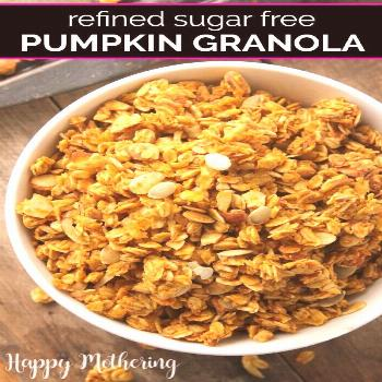 Homemade Pumpkin Almond Granola Cereal Looking for healthy fall snack recipes that smell amazing ba