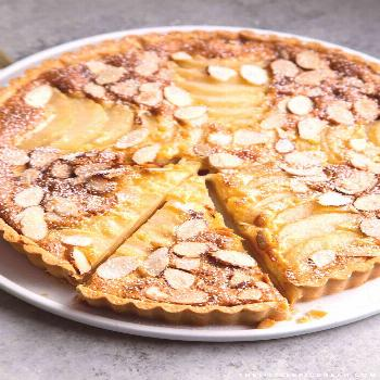 Pear Frangipane Tart. Buttery shortbread crust baked with almond frangipane filling and sliced pear