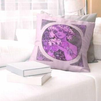 Porch & Den Alphonse Mucha 'Mucha Crown of Flowers' Throw Pillow (26 x 26 - Purple - Polyester)