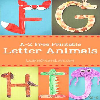 Printable Letter Animals: F-J