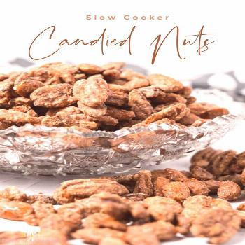 Slow Cooker Candies Nuts Slow cooker candied nuts are easy and delicious.  Coated in sweet brown su