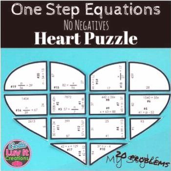 Solving Equations One Step Equations No Negatives Heart Puzzle