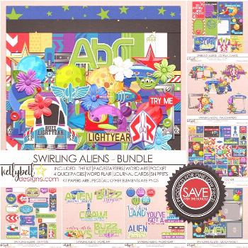 Swirling Aliens Bundle -  Swirling Aliens Bundle by Kellybell Designs – Digital scrapbooking prod