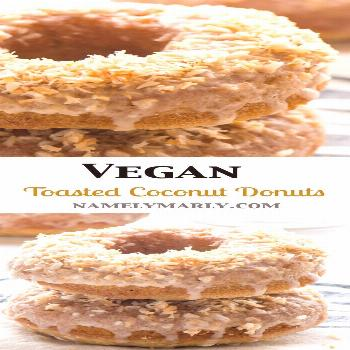 Tender Vegan Baked Toasted Coconut Donuts -  Tender and tempting, these Vegan Baked Toasted Coconut
