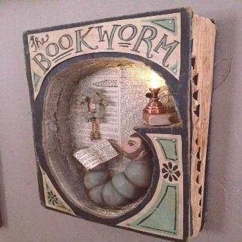 The Bookworm book art by Tammy Smith