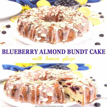 This Blueberry Almond Bundt Cake is a rich, dense cream cheese cake flavored with almond and loaded