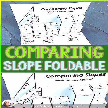 This comparing slope foldable goes together super easily with scissors and glue. It allows algebra