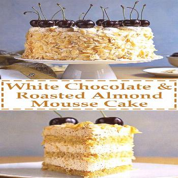 This decadent nougat torte has 3 layers of moist syrupy sponge cake and 3 layers of velvety roasted