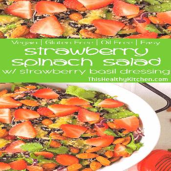 This fresh & tasty spinach with crunchy is drizzled in a delicious 3 ingredient strawberry dressing