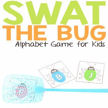 Too hot to head outside? This super fun swat the bug alphabet game can help you get your kids up, m