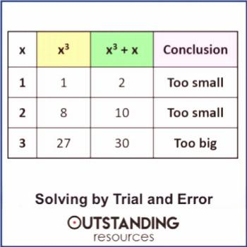 Trial and Improvement (trial and error) to find Solutions to Equations