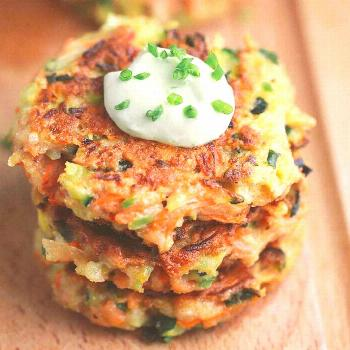 Vegetable Fritters -  These crispy vegetable fritters are packed with broccoli, carrots, and zucchi
