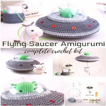 Whoa! This is so cool! I need one of these flying saucer amigurumi crochet kits! It has a pul... Wh