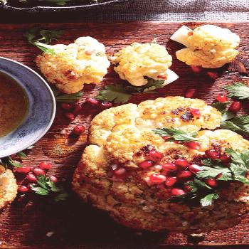 Whole Roasted Cauliflower with Pomegranate and Pine Nuts Whole Roasted Cauliflower with Pomegranate