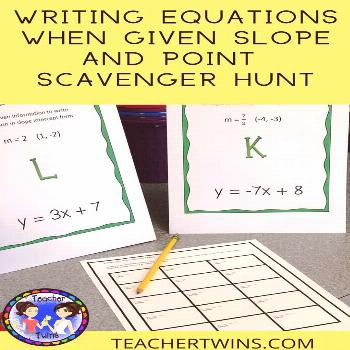 Writing Equations When Given Slope and  Point Scavenger Hunt This Scavenger Hunt give students the