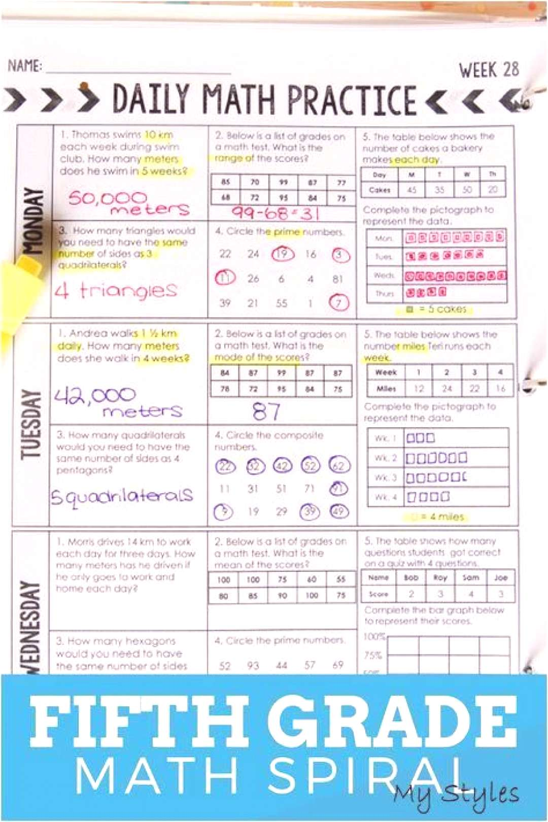 5th Grade Daily Math Spiral Review - CCSS - TEKS Aligned Morning Work Bundle