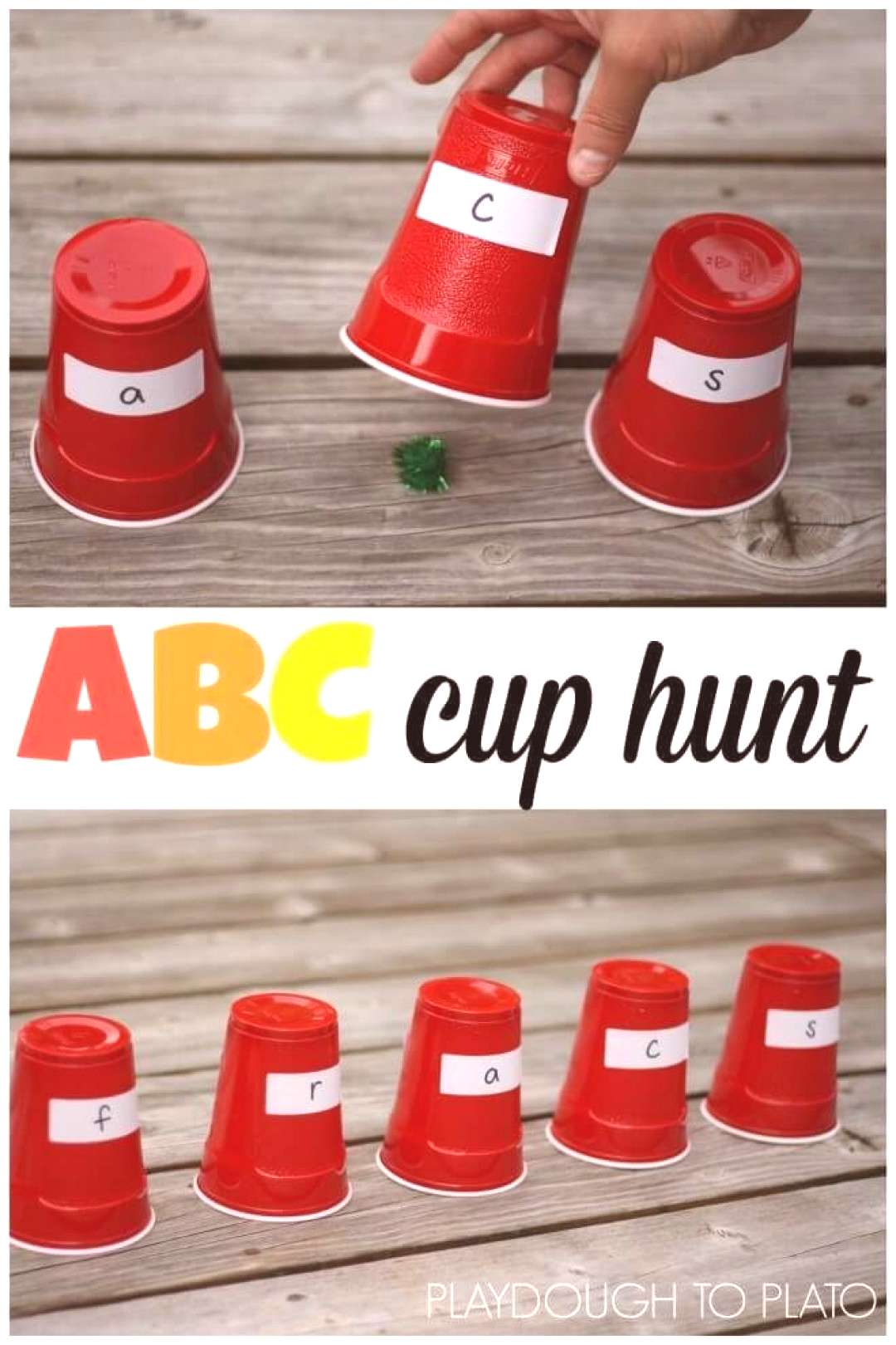 ABC Cup Hunt - a fun way for preschoolers to work on letter recognition!