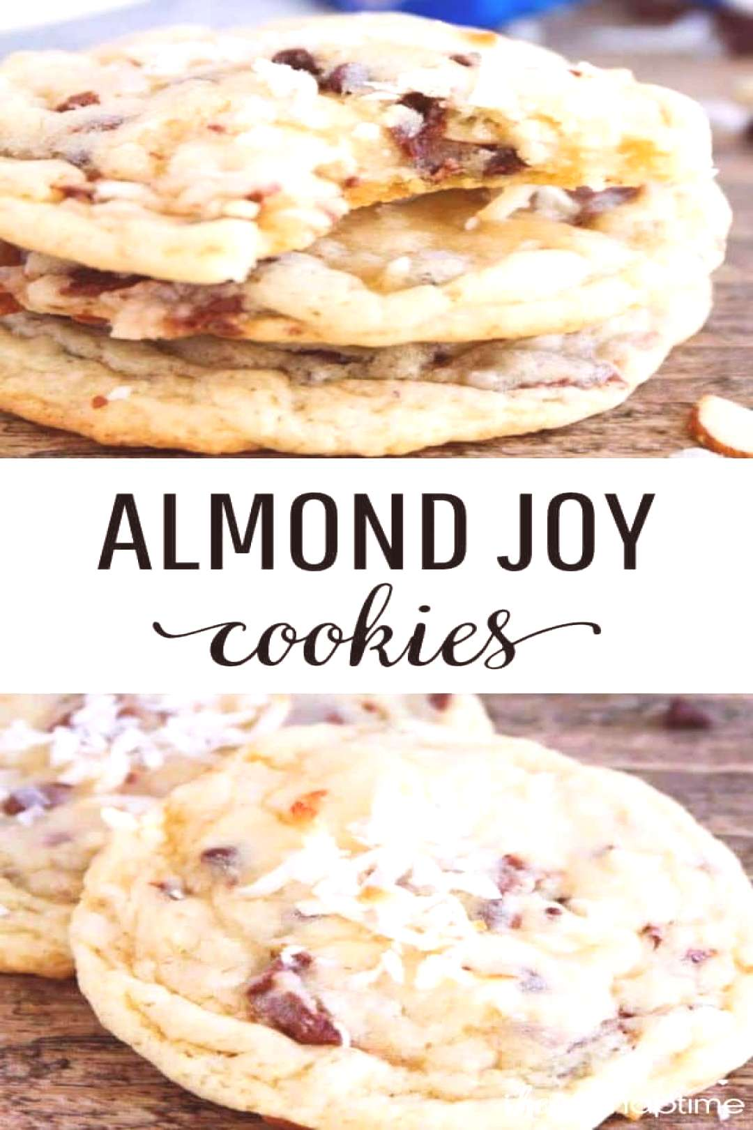 Almond Joy Cookies - Rich coconut cookie dough packed full of coconut, chocolate chips, almonds, an
