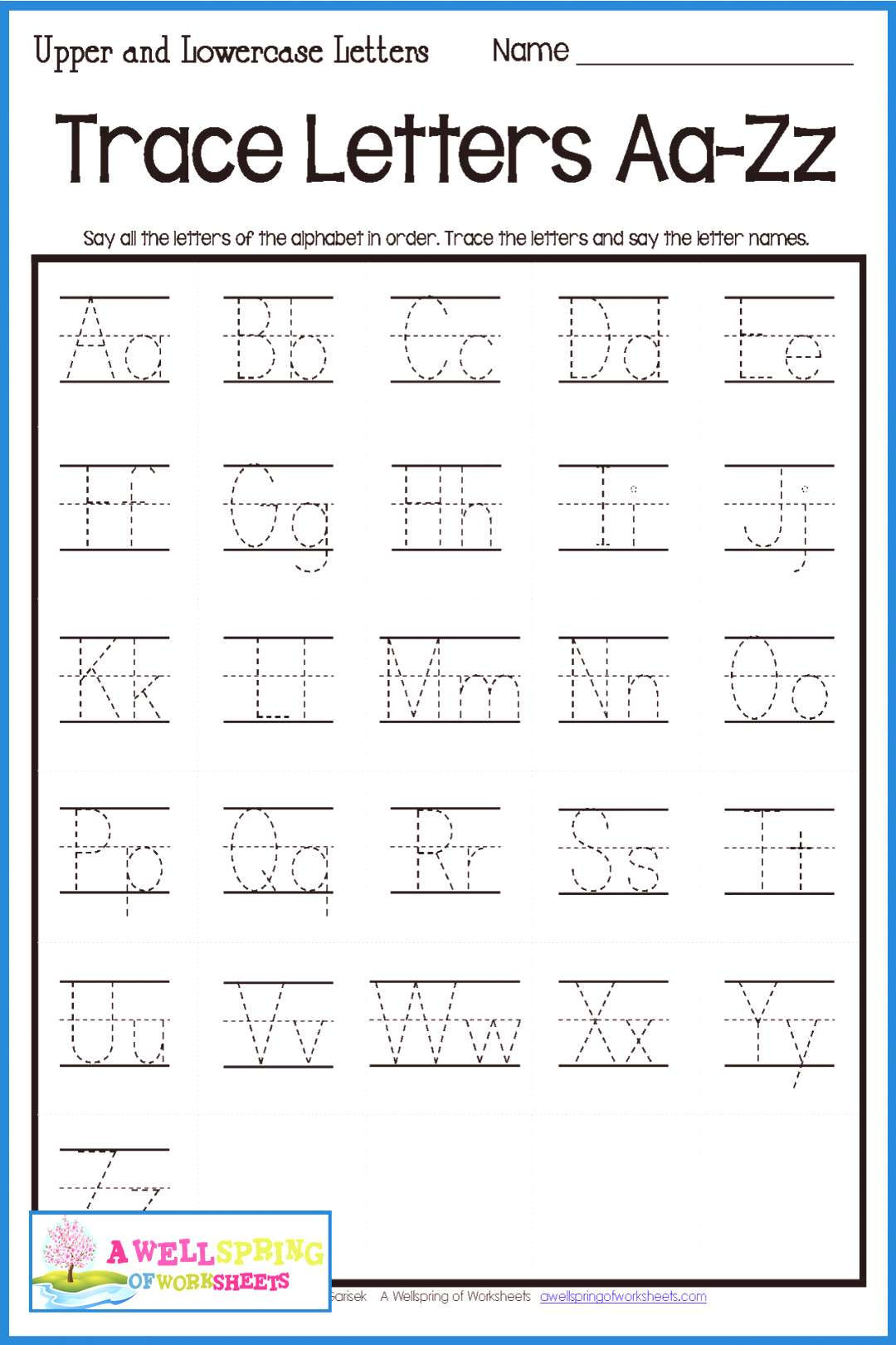 Alphabet Letter Tracing on Primary Writing Lines Practice tracing uppercase and lowercase letters w
