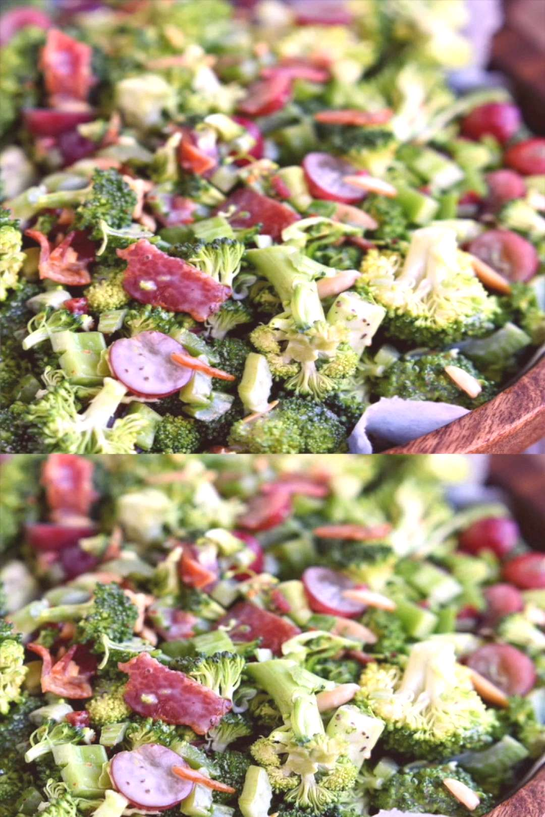 Best Ever Broccoli Salad recipe is bursting with flavor! Packed full of broccoli, bacon, grapes, al