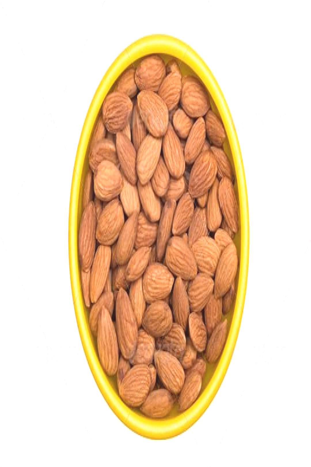 Bowl of Almonds by joebelanger. A bowl of whole raw almonds isolated on a white background.