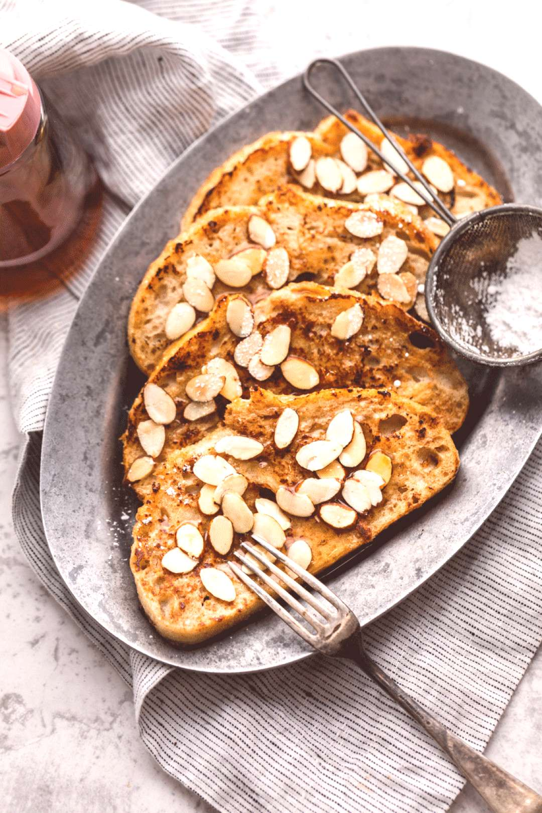 Breakfast Recipes Vegan French toast that's made with perfectly golden sourdough bread and topped w