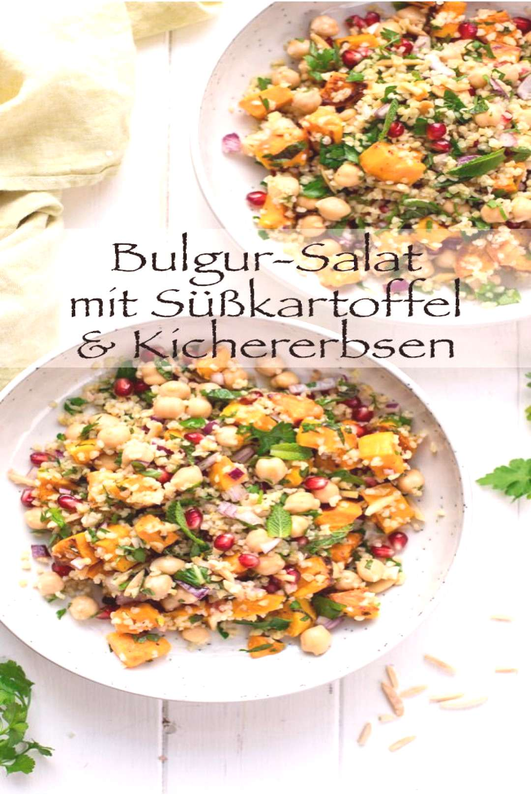 Bulgur Salad with Sweet Potato, Chickpeas, Herbs and Almonds This simple recipe for a Bulgur Salad