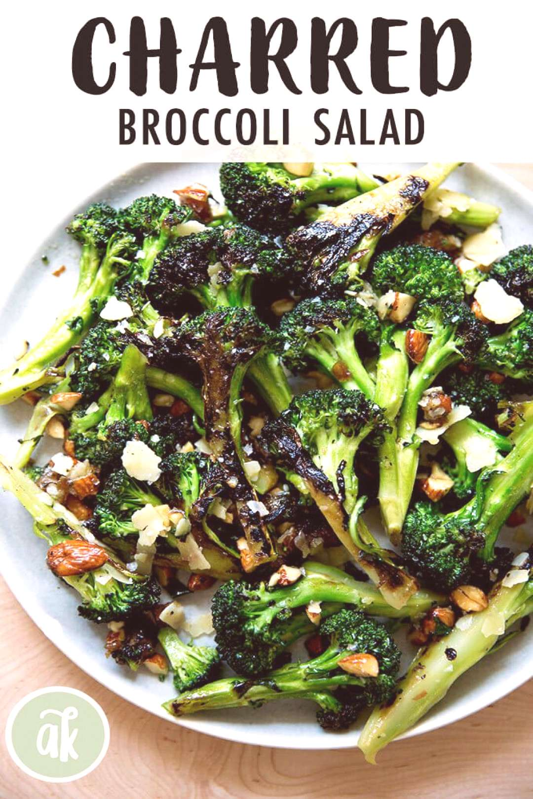 Charred — but not roasted — broccoli salad with dates, almonds and cheddar. This is such a refr