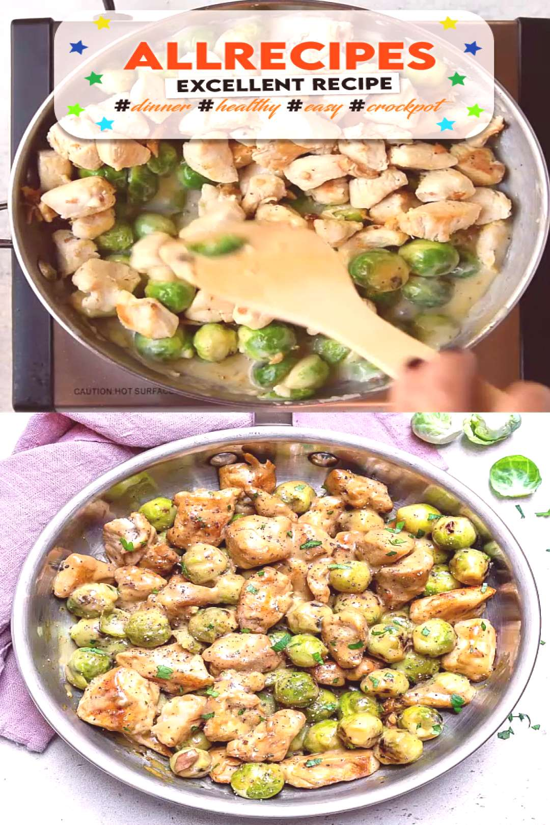 CHICKEN ALFREDO BRUSSELS SPROUTS  - - Enjoy your favorite comfort food without any guilt by making
