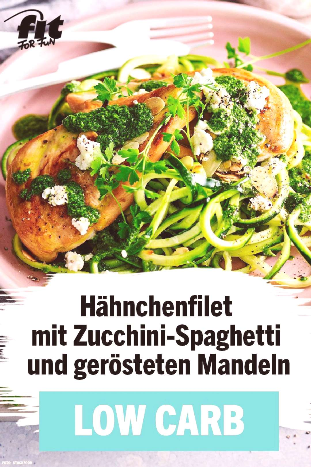 Chicken fillet with zucchini spaghetti and roasted almonds Recipe - FIT FOR FUN#almonds