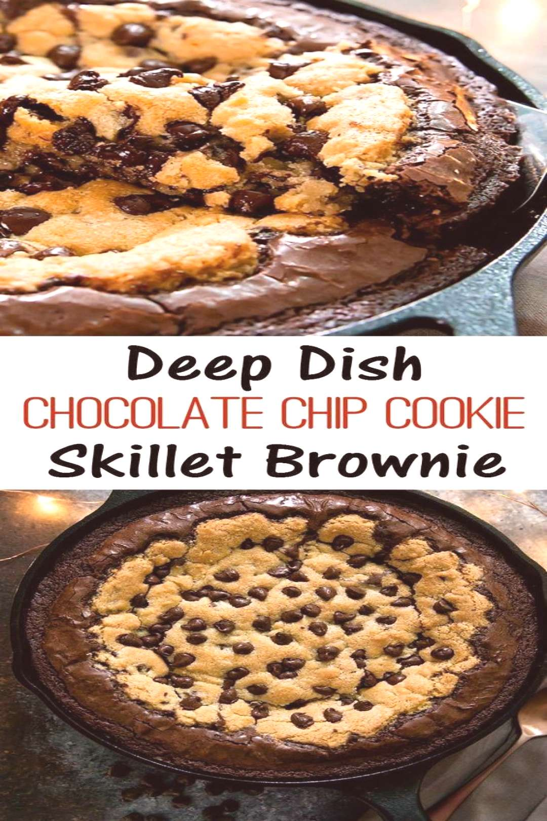 Deep Dish Chocolate Chip Cookie Skillet Brownie and Brookie Cups Recipe is so yumm!! You must see t
