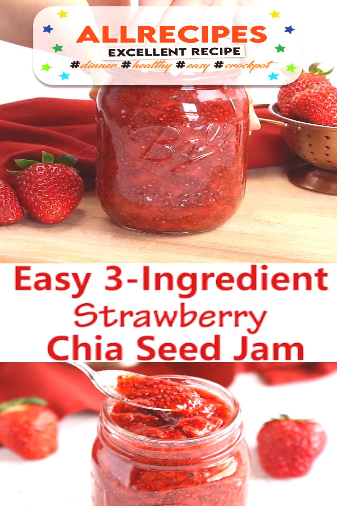 Easy 3-Ingredient Strawberry Chia Seed Jam - - This Easy 3-Ingredient Chia Seed Strawberry Jam is t