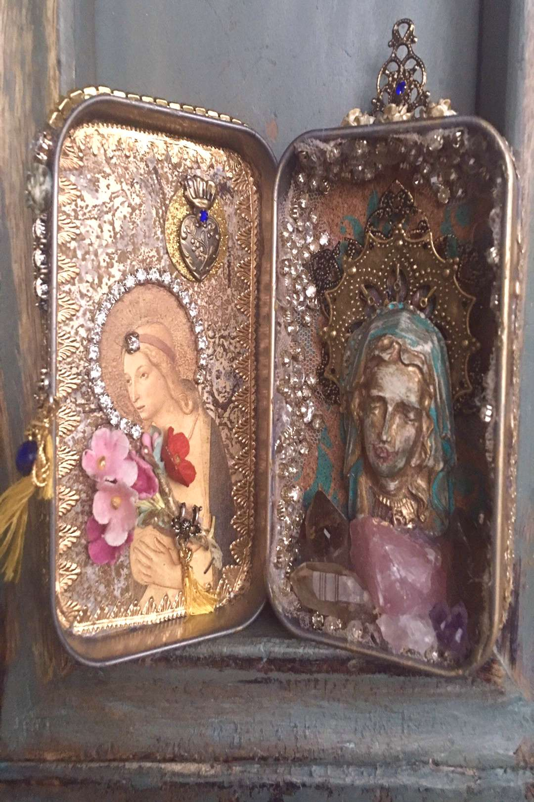 Excited to share this item from my shop: Queen of the World,Altered art tin, Assemblage art, Mixed