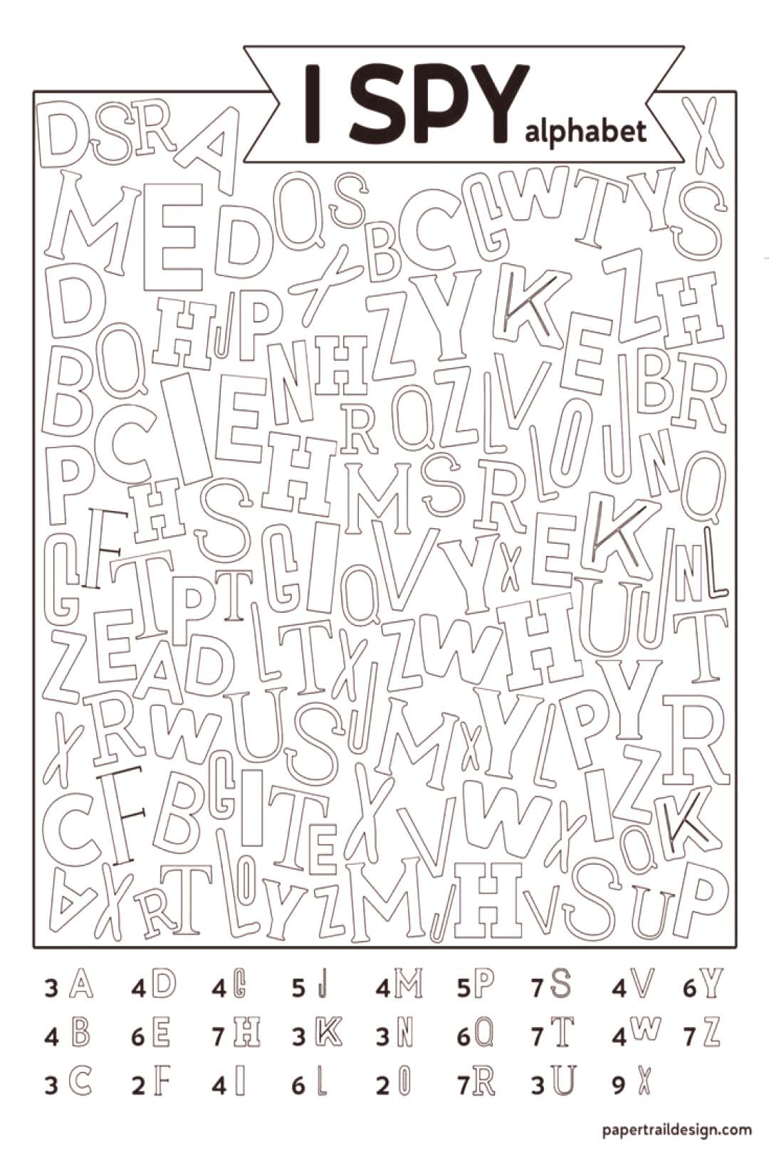 Free Printable Alphabet I Spy Game. Use this boredom buster activity on a rainy day or in the class