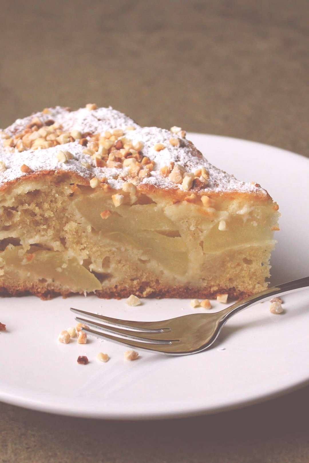 French apple pie with crème fraîche and almonds -  French apple pie with crème fraîche and almo