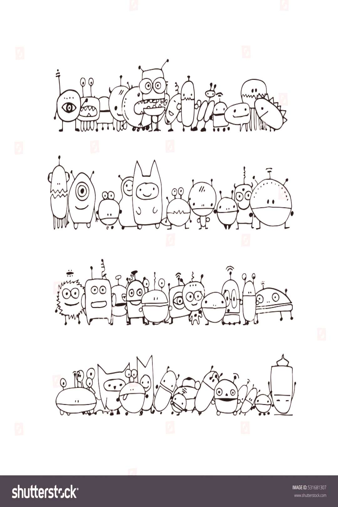 Funny aliens collection, sketch for your design ,