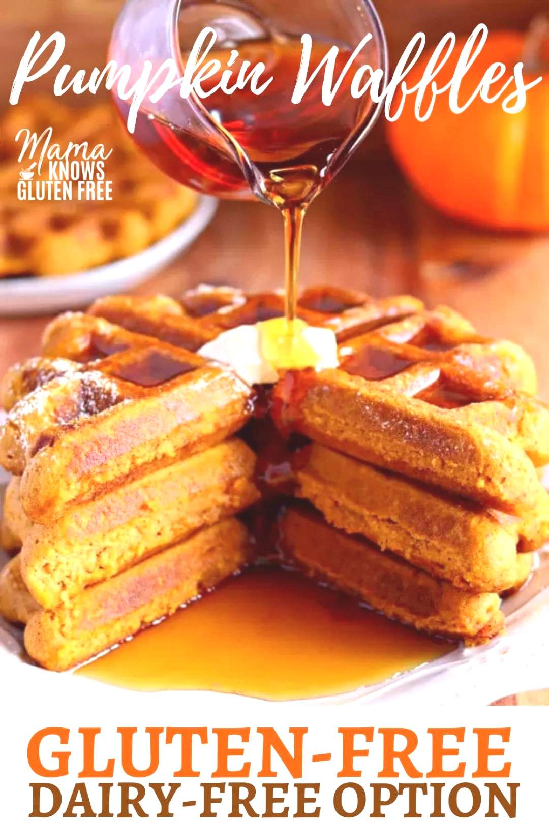 Gluten-Free Pumpkin Waffles {Dairy-Free Option} -  These delicious, gluten-free pumpkin waffles are