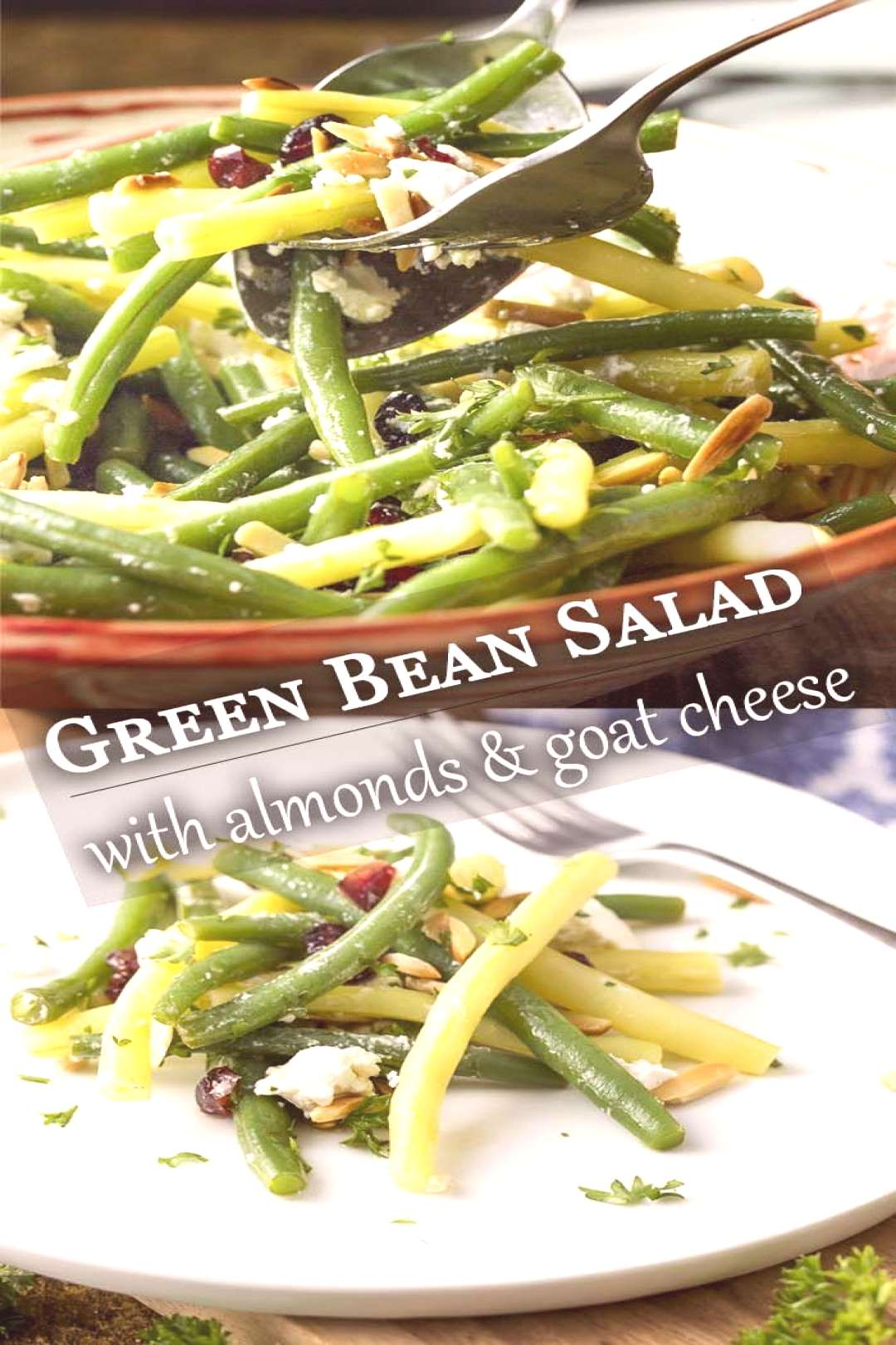 Green Bean Salad with Fried Almonds and Goat Cheese - Just a Little Bit of Bacon... -