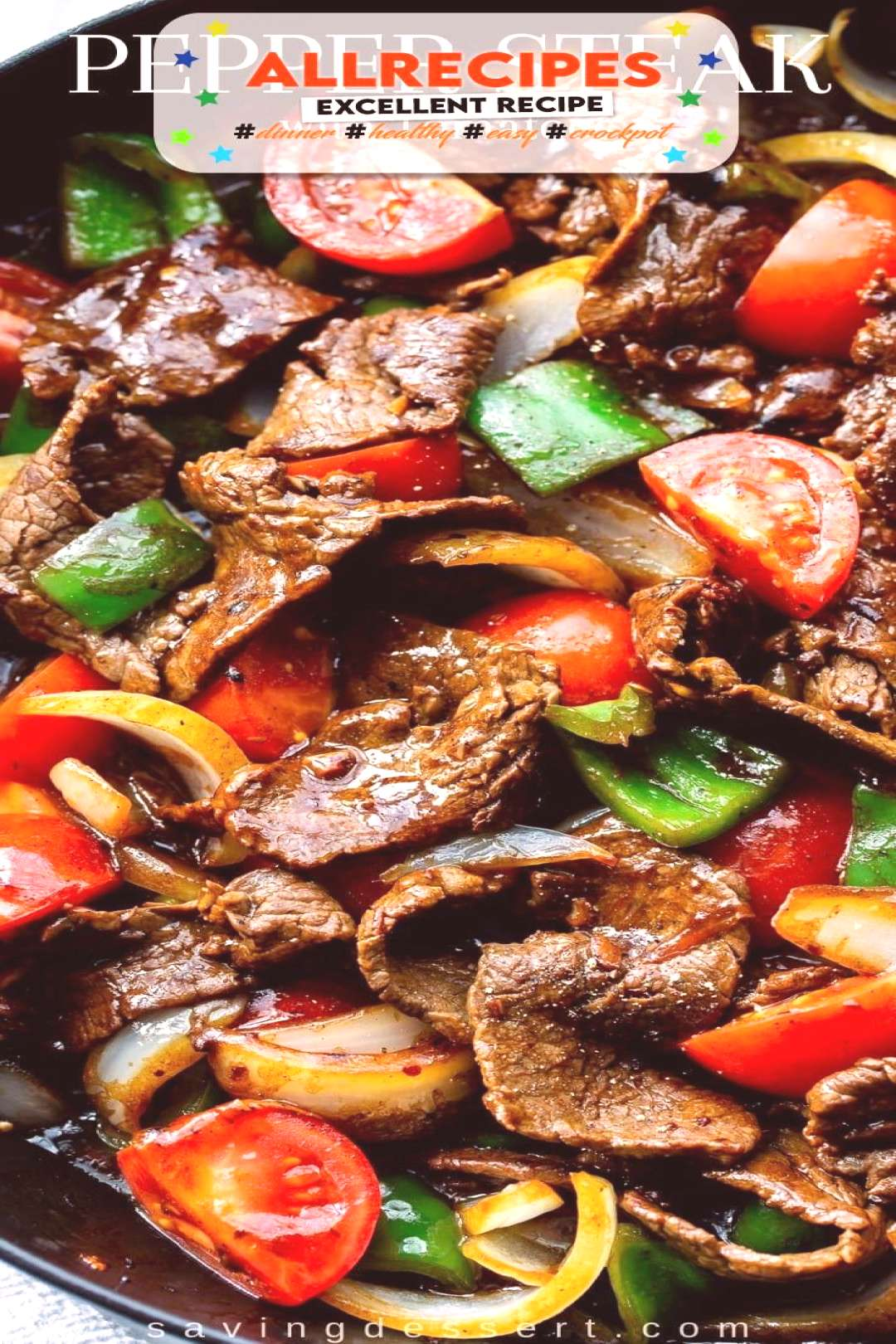Green Pepper Steak with Tomatoes and Onions - - This vibrant and flavorful stir fry is easy enough